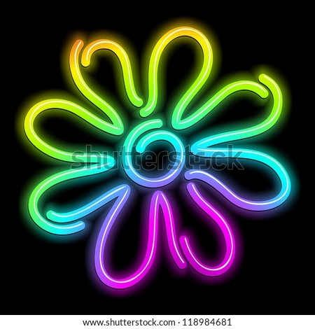 Flower Daisy Psychedelic Neon Light