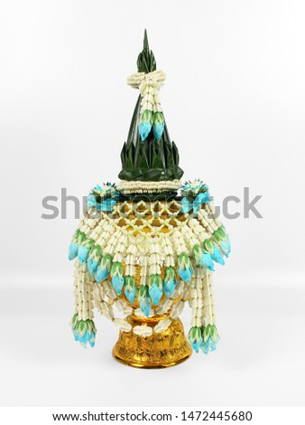 Flower decorate on the tray with pedestal in Thai traditional style white background
