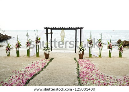 Flower Decoration At The Beach Wedding Venue Stock Photo 125081480