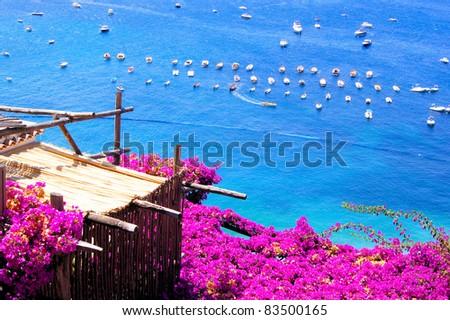 Flower draped terrace in Positano on the Amalfi Coast of Italy