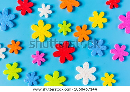 Flower eva foam for decoration isolated on blue background, decorative foamy material for creating artificial handmade flowers, View from above.