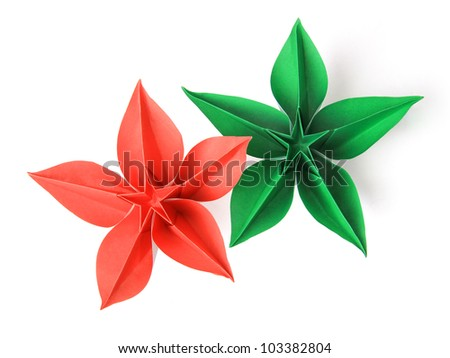 flower exotic origami on a white background - stock photo