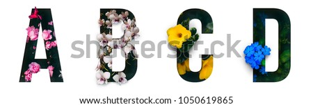 Flower font Alphabet a, b, c, d made of Real alive flowers with Precious paper cut shape of letter. Collection of brilliant flora font for your unique decoration in spring, summer & many concept idea - Shutterstock ID 1050619865