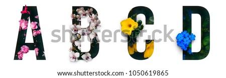 flower font alphabet a  b  c  d ...