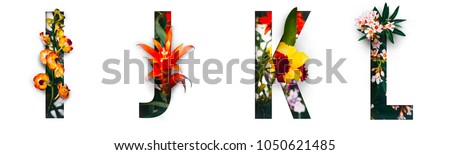 Photo of Flower font Alphabet i, j, k, l, made of Real alive flowers with Precious paper cut shape of letter. Collection of brilliant flora font for your unique decoration in spring, summer & many concept idea