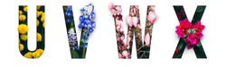 Flower font Alphabet u, v, w, x, made of Real alive flowers with Precious paper cut shape of letter. Collection of brilliant flora font for your unique decoration in spring, summer & many concept idea