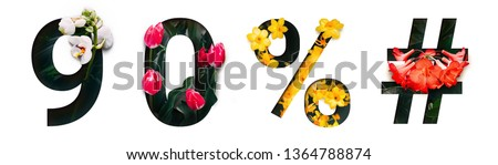 Flower font number 9, 0, %, # Create with real alive flowers and white background cut shape of Number. Collection of brilliant bloom flora font for your unique text, typography with many concept ideas #1364788874