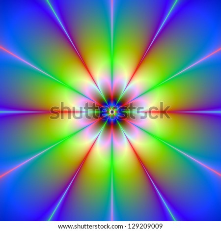 Flower Fractal / Digital abstract fractal image with a flower design in blue, yellow and pink.