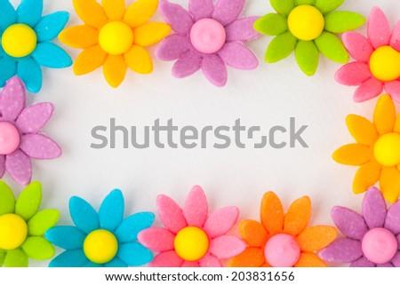 Flower frame on white paper background