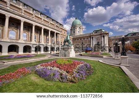 flower garden of Royal Palace in Budapest, Hungary