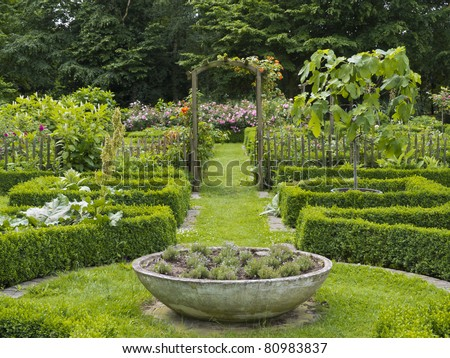 Flower garden with pergola and flower pot