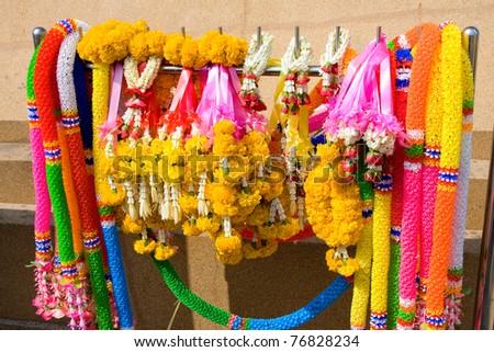 Flower garlands for buddhist religious ceremony in Thailand