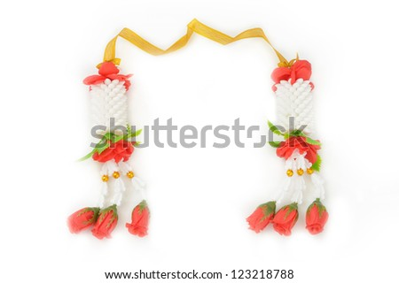 Flower garlands in thai style on white background, used offering to buddha