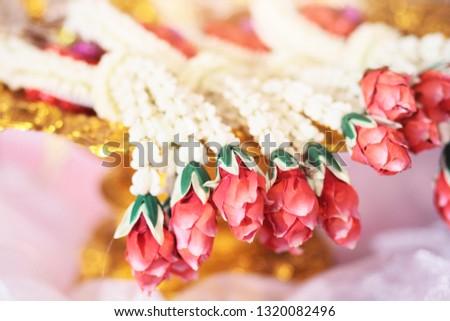 Flower garlands on a gold tray in tradition Thai wedding ceremony day. Jasmine garland #1320082496