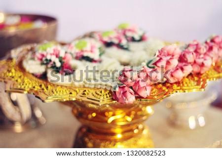 Flower garlands on a gold tray in tradition Thai wedding ceremony day. Jasmine garland. #1320082523