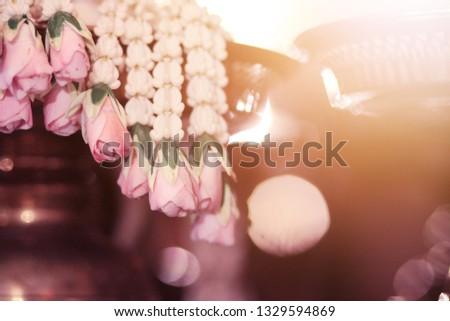 Flower garlands on a gold tray in tradition Thai wedding ceremony day. Jasmine garland #1329594869