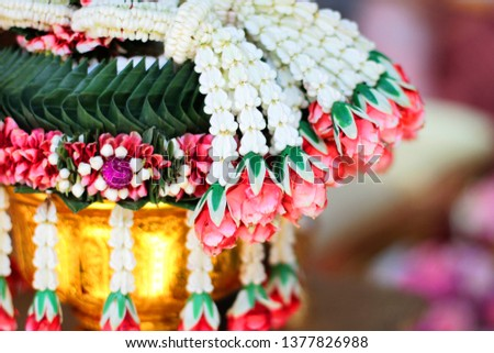 Flower garlands on a gold tray in tradition Thai wedding ceremony day. Jasmine garland. #1377826988