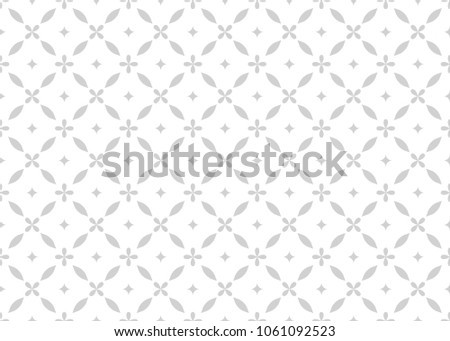 Flower geometric pattern. Seamless  background. White and grey ornament. Ornament for fabric, wallpaper, packaging, Decorative print.