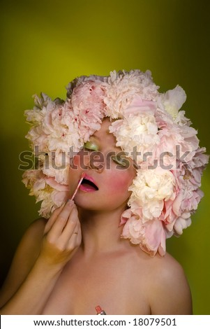 Flower girl with a lipstick