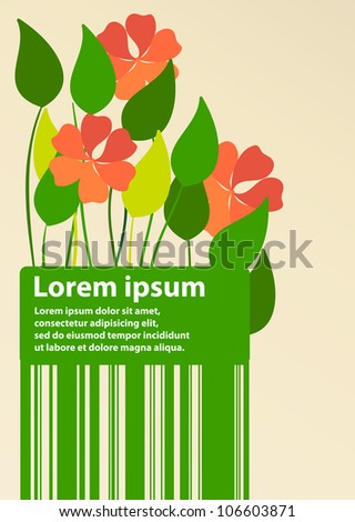 Flower greeting card design template. Might be used for birthday, woman's day, etc./Flower greeting card design template