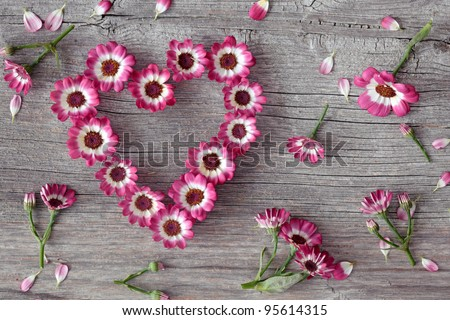 Flower heart on grey wooden background
