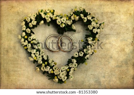 flower heart on grunge background