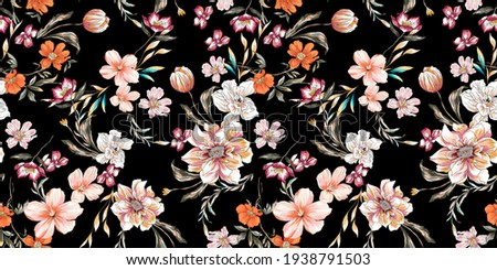 Flower illustration colorful seamless pattern texture fabric. Floral jungle peony, lily, tulip, daisy, leaves, branch and plants on black background..