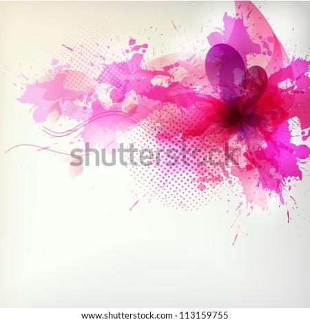 flower in colorful ink splattered pink background.