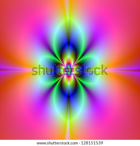 Flower in Neon / Digital abstract image with a neon flower design in pink blue and yellow.