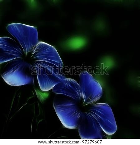 Flower linen neon glow on a black background