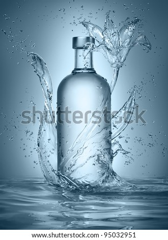 flower made of water with vodka bottle
