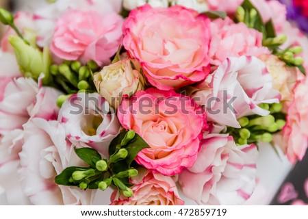 flower market, bright vivid colorful fresh flowers