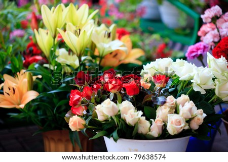 Flower market outdoor with different flowers