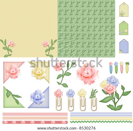 flower mood scrapbook kit. all elements are isolated on white - stock photo