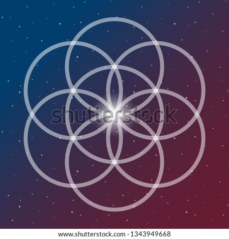 flower of life symbol on a cosmic interlocking circles space blue and red sacred geometry psychedelic raster copy.