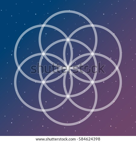 flower of life symbol on a cosmic interlocking circles space sacred geometry psychedelic raster copy.