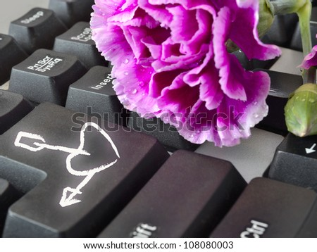 Flower on the keyboard with heart and arrow.
