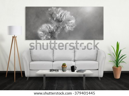 Superb flower on wide wall art canvas