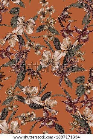 Flower orchid and magnolia illustration and small plumeria seamless pattern texture, with tropical vintage leaves exotic plants on orange color background.