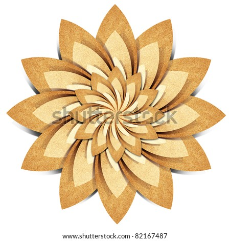 Flower origami  recycled paper craft stick on white background