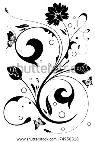 Flower ornament with butterfly, element for design,  illustration