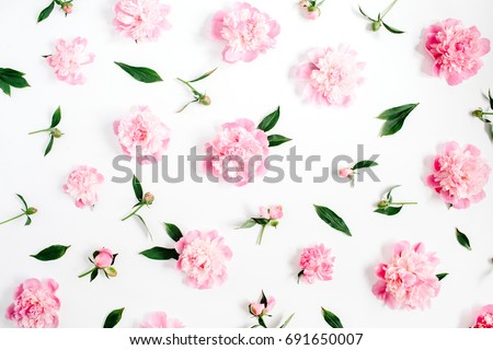 Flower pattern of pink peony flowers, branches, leaves and petals on white background. Flat lay, top view. Peony flower texture. #691650007