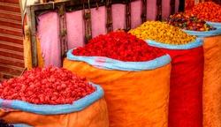 Flower petals on marakesh bazaar
