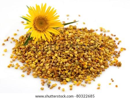 Flower pollen on a white background