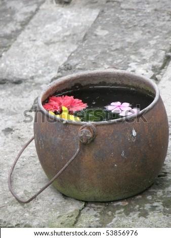 flower pot Bali Indonesia - stock photo