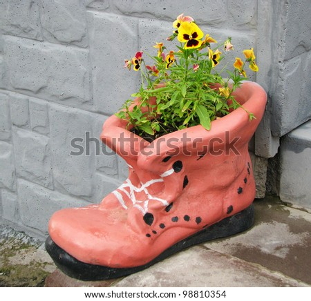 Flower pot in shape of shoe with blooming flowers