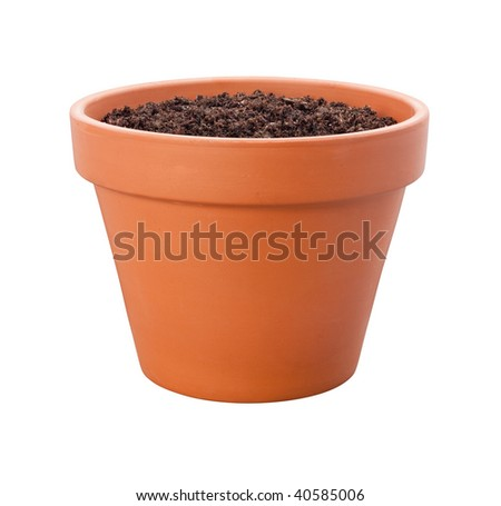 Flower Pot with a clipping path isolated on white. Full focus front & back. - stock photo
