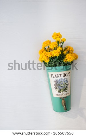 flower pot with yellow flowers hanging on a house wall