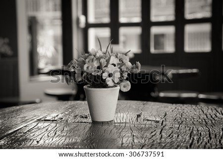 Flower pots on a wooden table monochrome style  #306737591