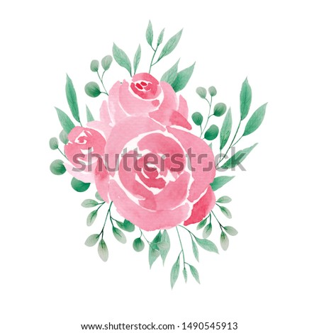Flower red, burgundy, red rose, green leaves. Wedding concept with flowers. Floral poster, invite. Vector arrangements for greeting card or invitation design.